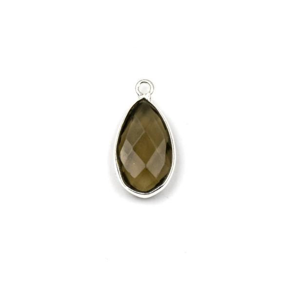 Smoky Quartz approximately 9x18mm Teardrop Drop with a Silver Plated Brass Bezel - 1 per bag