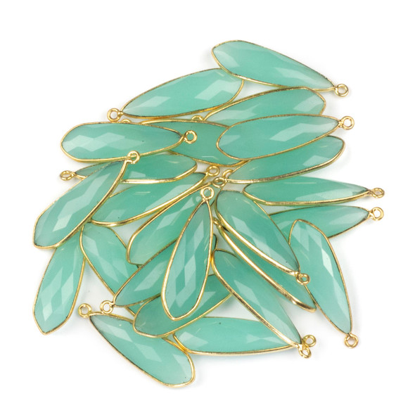 Aqua Chalcedony approximately 10x32mm Slightly Pointed Teardrop Drop with a Gold Plated Brass Bezel - 1 per bag