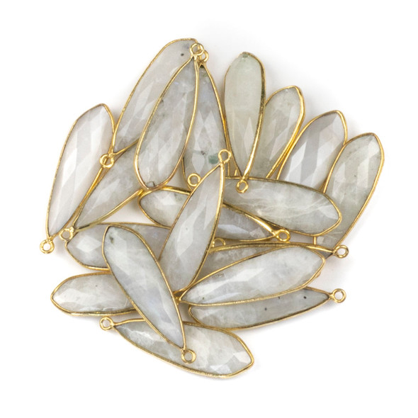 Moonstone approximately 10x32mm Slightly Pointed Teardrop Drop with a Gold Plated Brass Bezel - 1 per bag