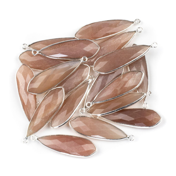 Peach Moonstone approximately 10x32mm Slightly Pointed Teardrop Drop with a Silver Plated Brass Bezel - 1 per bag