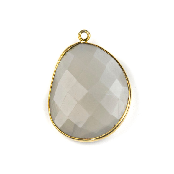Grey Moonstone 22x30mm Faceted Free Form Drop with a Gold Plated Brass Bezel and Loop - 1 per bag