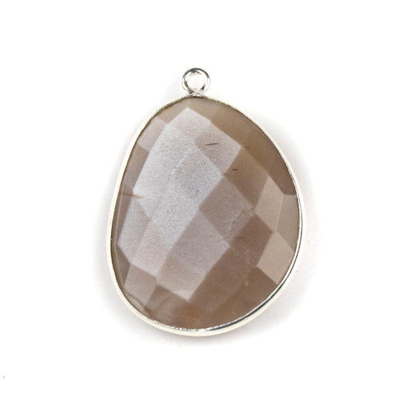Mystic Moonstone 22x30mm Faceted Free Form Drop with a Silver Plated Brass Bezel and Loop - 1 per bag