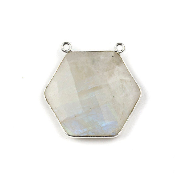 Moonstone 29mm Faceted Hexagon Pendant Drop with a Silver Plated Brass Bezel and 2 Loops - 1 per bag