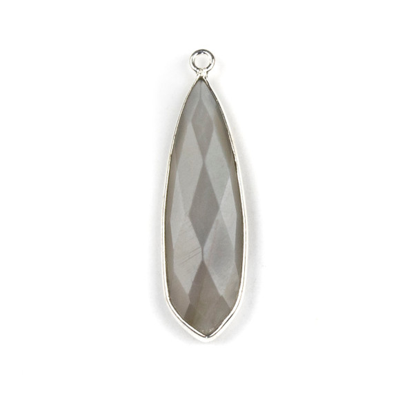 Grey Moonstone approximately 10x32mm Slightly Pointed Teardrop Drop with a Silver Plated Brass Bezel - 1 per bag