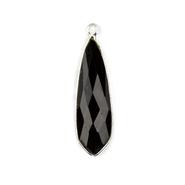 Onyx approximately 10x32mm Slightly Pointed Teardrop Drop with a Silver Plated Brass Bezel - 1 per bag