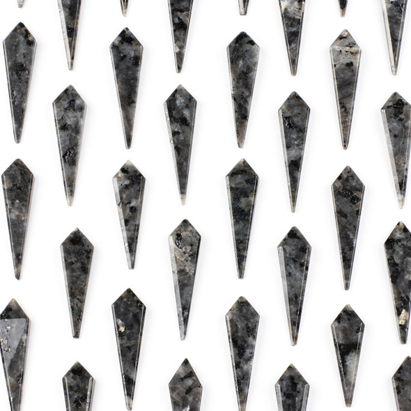 Black Labradorite/Larvikite 11x44mm Top Drilled Kite Pendant - 1 per bag