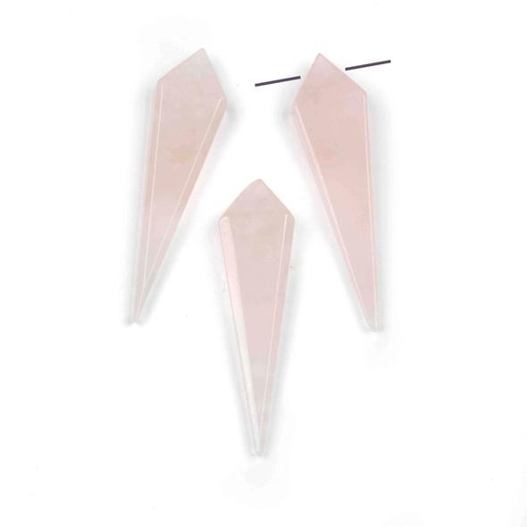 Rose Quartz 11x44mm Top Drilled Kite Pendant - 1 per bag