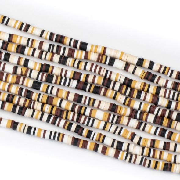 Polymer Clay 1x4mm Heishi Beads - Honey Brown Mix #1, 15 inch strand