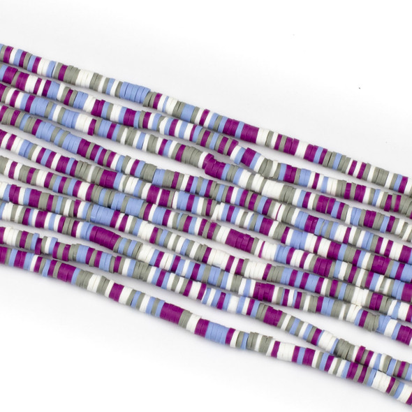 Polymer Clay 1x4mm Heishi Beads - Violet & Periwinkle Mix #4, 15 inch strand