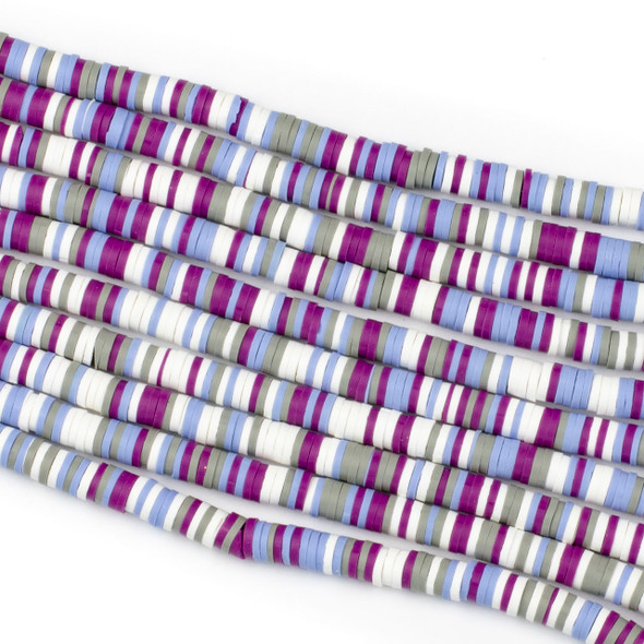 Polymer Clay 1x6mm Heishi Beads - Violet & Periwinkle Mix #4, 15 inch strand
