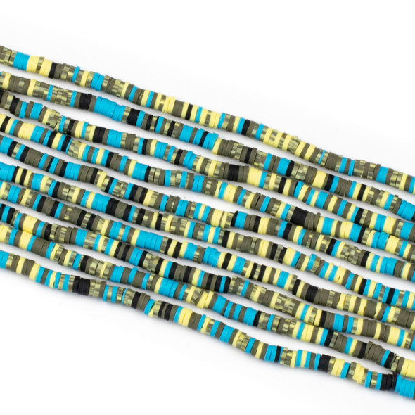 Polymer Clay 1x4mm Heishi Beads - Electric Blue & Yellow Mix #8, 15 inch strand
