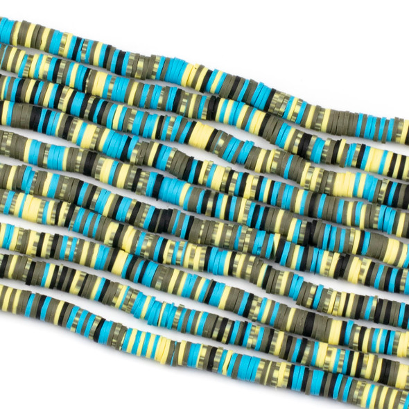 Polymer Clay 1x6mm Heishi Beads - Electric Blue & Yellow Mix #8, 15 inch strand