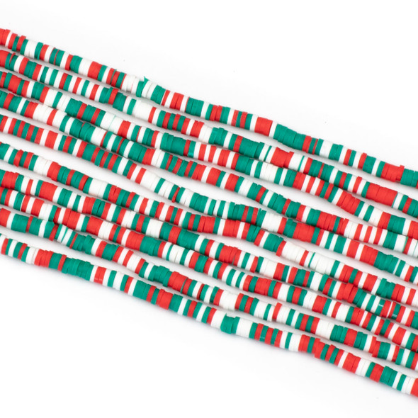 Polymer Clay 1x4mm Heishi Beads - Holiday Mix #11, 15 inch strand