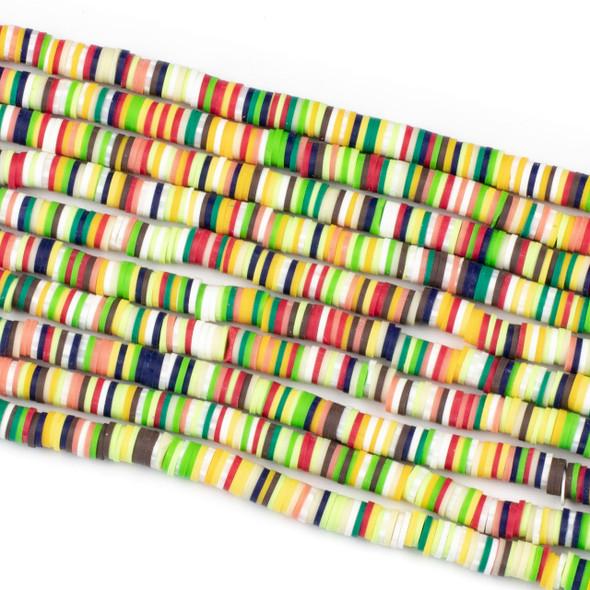 Polymer Clay 1x6mm Heishi Beads - Watermelon Mix #13, 15 inch strand