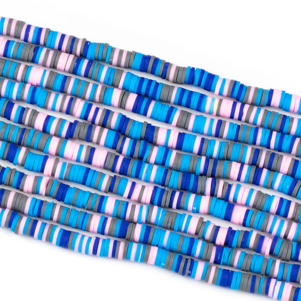 Polymer Clay 1x6mm Heishi Beads - Blue & Pink Mix #14, 15 inch strand