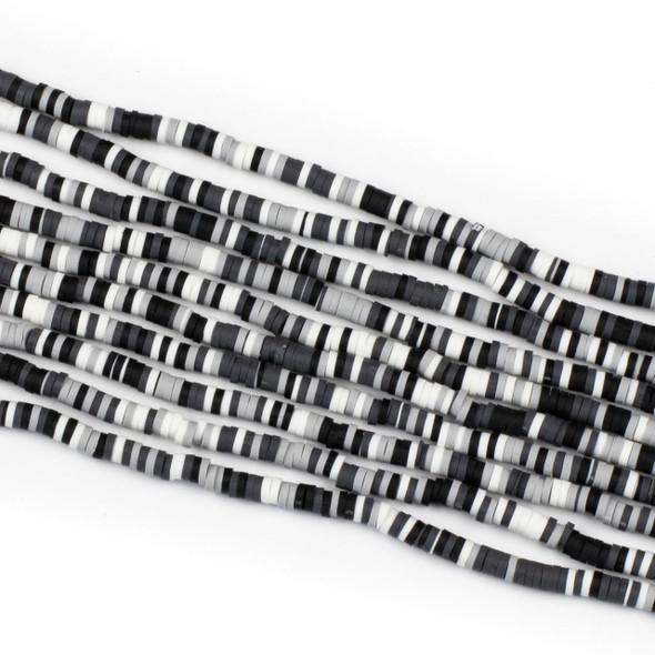Polymer Clay 1x4mm Heishi Beads - Black, Grey, & White Mix #18, 15 inch strand