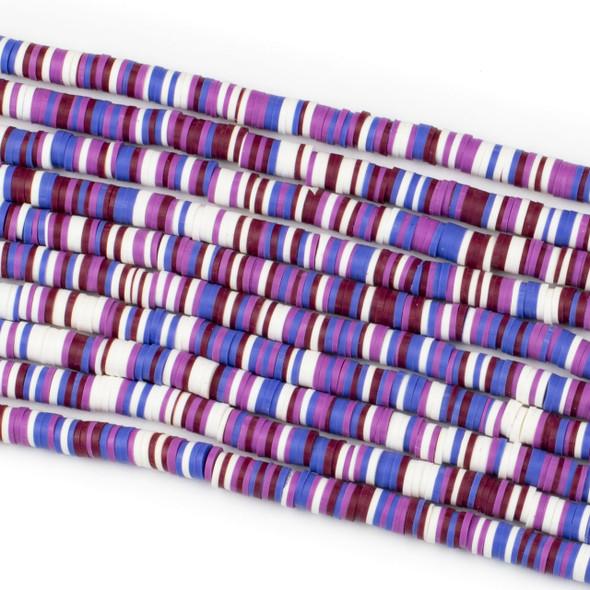 Polymer Clay 1x6mm Heishi Beads - Purple & Violet Mix #19, 15 inch strand