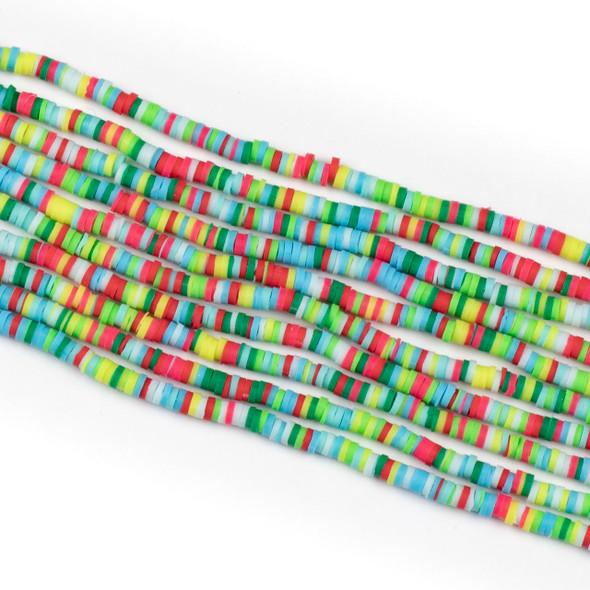 Polymer Clay 1x4mm Heishi Beads - Neon Mix #20, 15 inch strand