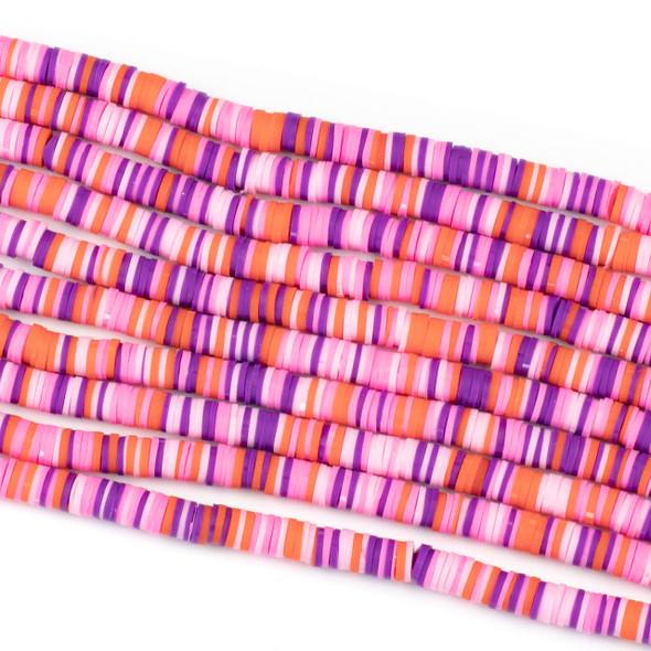 Polymer Clay 1x6mm Heishi Beads - Pink & Purple Mix #26, 15 inch strand