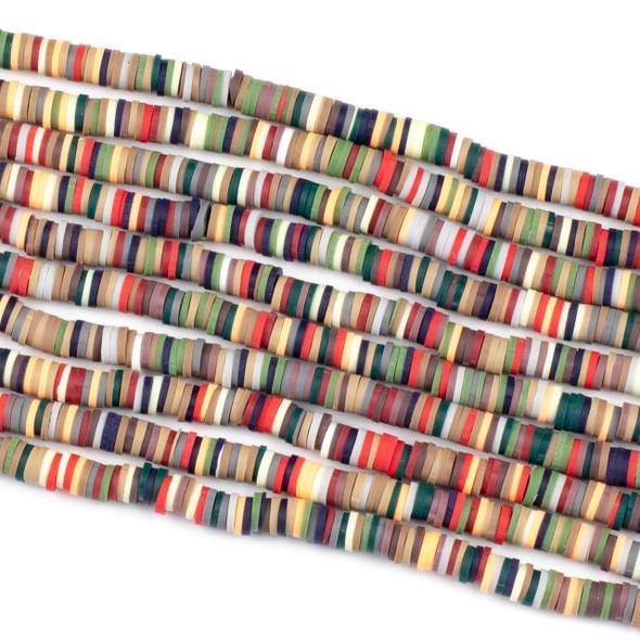 Polymer Clay 1x6mm Heishi Beads - Global Mix #29, 15 inch strand