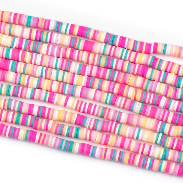 Polymer Clay 1x6mm Heishi Beads - Rainbow Sherbet Mix #30, 15 inch strand