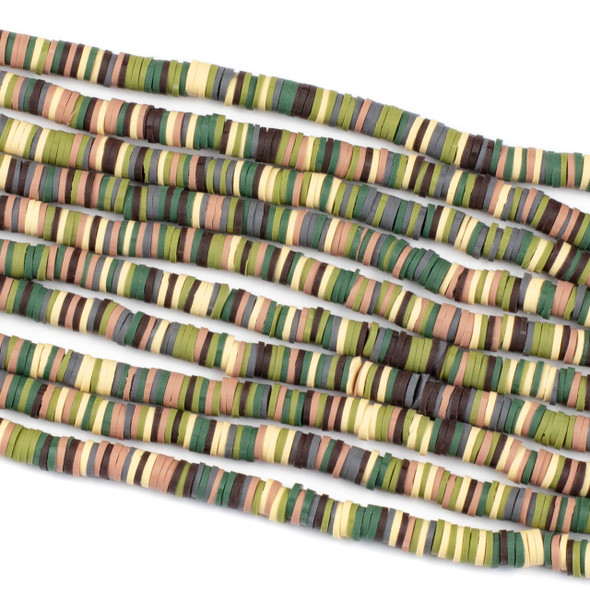 Polymer Clay 1x6mm Heishi Beads - Camoflauge Mix #31, 15 inch strand