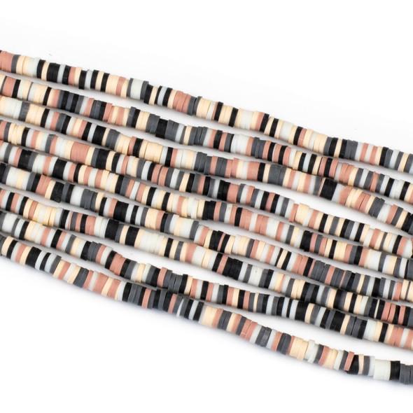 Polymer Clay 1x4mm Heishi Beads - Ballet Slipper Mix #21, 15 inch strand