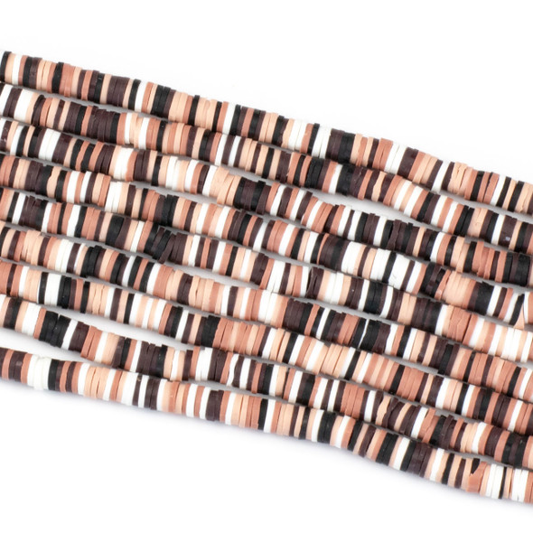 Polymer Clay 1x6mm Heishi Beads - Ballet Slipper Mix #21, 15 inch strand