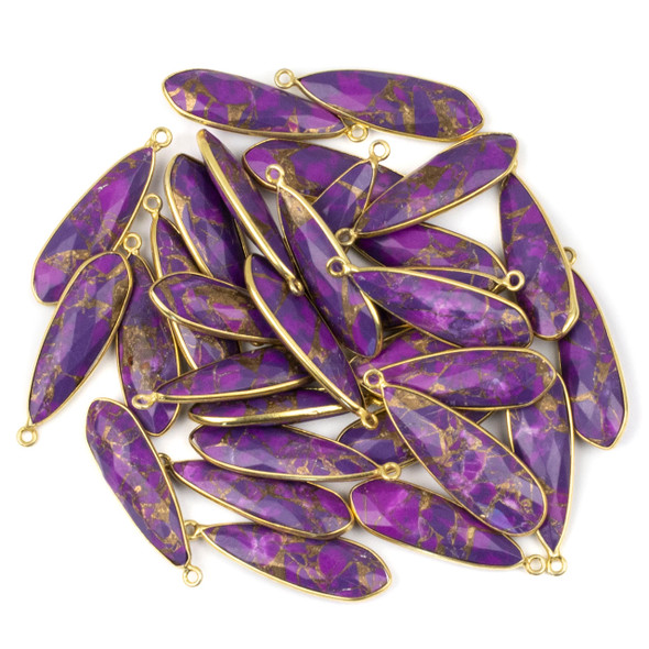 Purple Copper Turquoise approximately 9x31mm Slightly Pointed Teardrop Drop with a Gold Plated Brass Bezel - 1 per bag