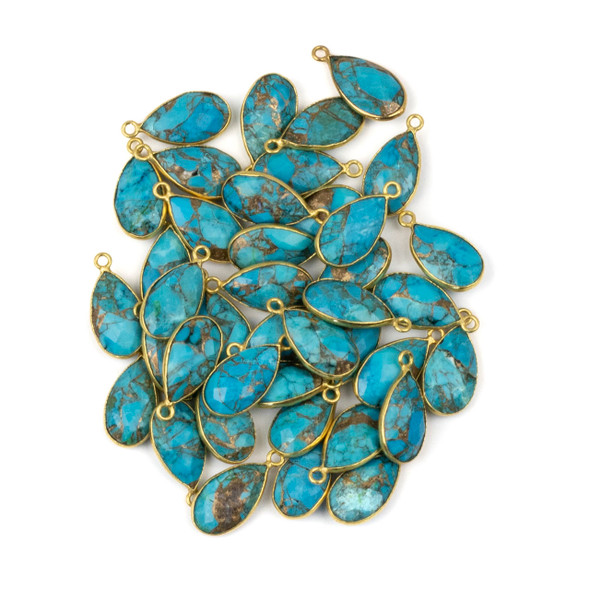 Copper Turquoise approximately 9x18mm Teardrop Drop with a Gold Plated Brass Bezel - 1 per bag