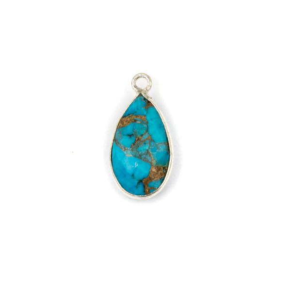 Copper Turquoise approximately 9x18mm Teardrop Drop with a Silver Plated Brass Bezel - 1 per bag
