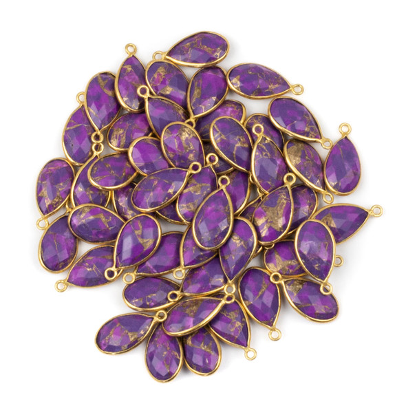 Purple Copper Turquoise approximately 9x18mm Teardrop Drop with a Gold Plated Brass Bezel - 1 per bag