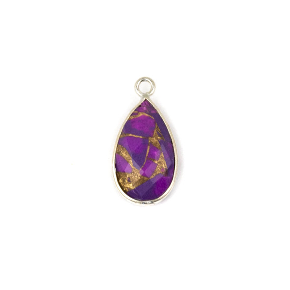 Purple Copper Turquoise approximately 9x18mm Teardrop Drop with a Silver Plated Brass Bezel - 1 per bag
