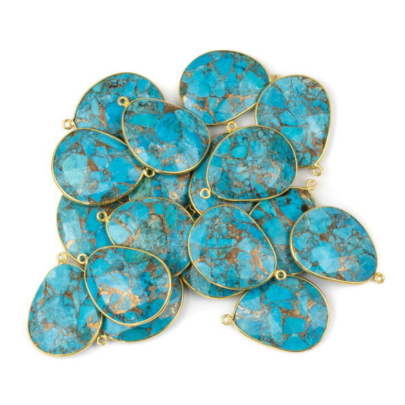 Copper Turquoise 22x30mm Faceted Free Form Drop with a Gold Plated Brass Bezel and Loop - 1 per bag