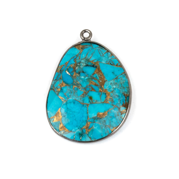 Copper Turquoise 22x30mm Faceted Free Form Drop with a Gun Metal Plated Brass Bezel and Loop - 1 per bag