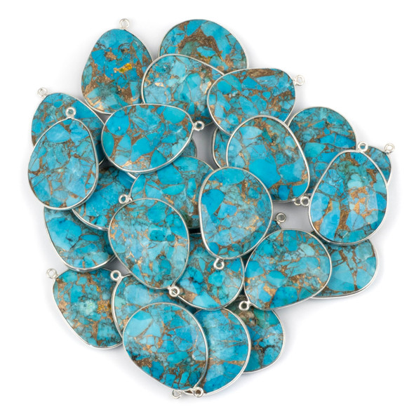 Copper Turquoise 22x30mm Faceted Free Form Drop with a Silver Plated Brass Bezel and Loop - 1 per bag