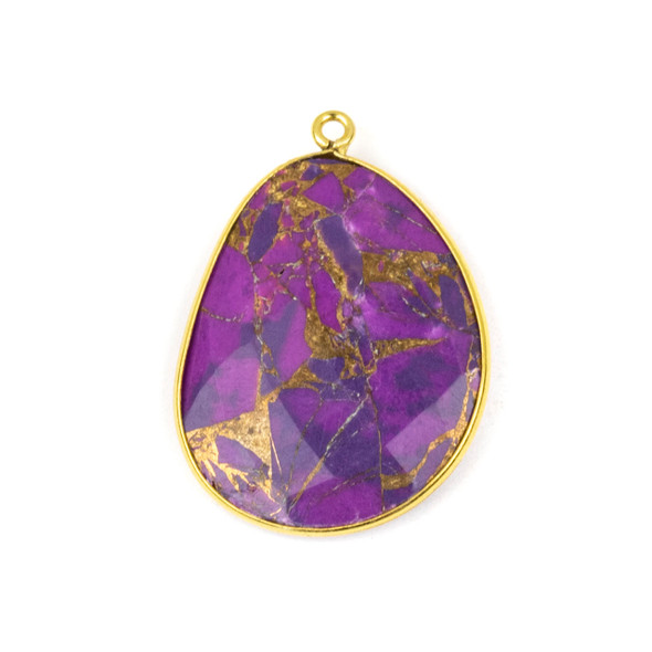 Purple Copper Turquoise 22x30mm Faceted Free Form Drop with a Gold Plated Brass Bezel and Loop - 1 per bag