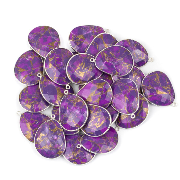 Purple Copper Turquoise 22x30mm Faceted Free Form Drop with a Silver Plated Brass Bezel and Loop - 1 per bag