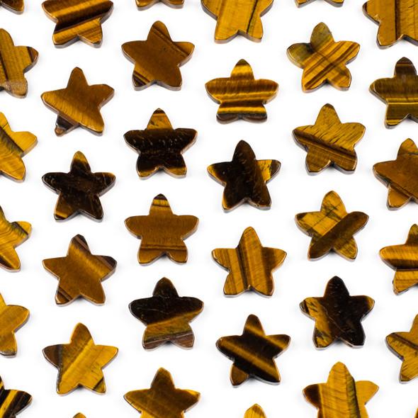 Yellow Tigereye 25x26mm Top Drilled Star Pendant - 1 per bag