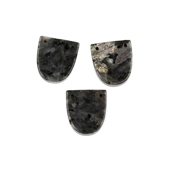 Black Labradorite/Larvikite 18x20mm Top Through Drilled Shield Pendant - 1 per bag