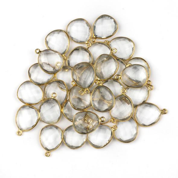 Quartz 14x19mm Free Form Drop with a Gold Plated Brass Bezel - 1 per bag