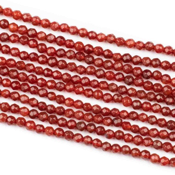 Red Agate 4mm Faceted Round Beads - 14 inch strand