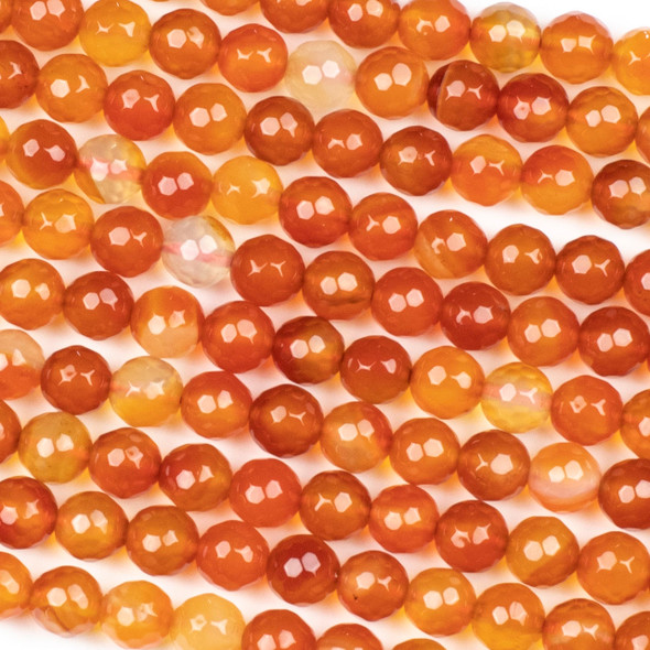 Carnelian 8mm Faceted Round Beads - 15 inch strand