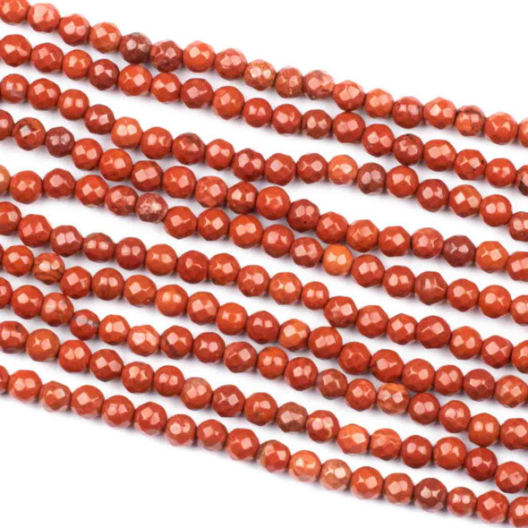 Red Jasper 4mm Faceted Round Beads - 14 inch strand