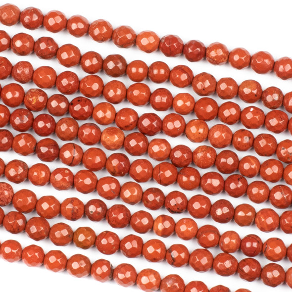 Red Jasper 6mm Faceted Round Beads - 14 inch strand