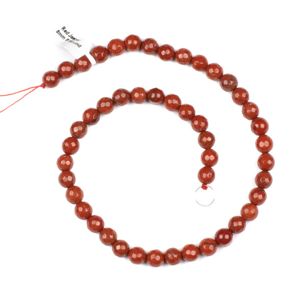 Red Jasper 8mm Faceted Round Beads - 15 inch strand