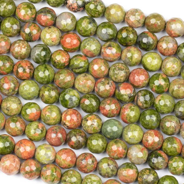 Unakite 8mm Faceted Round Beads - 15 inch strand