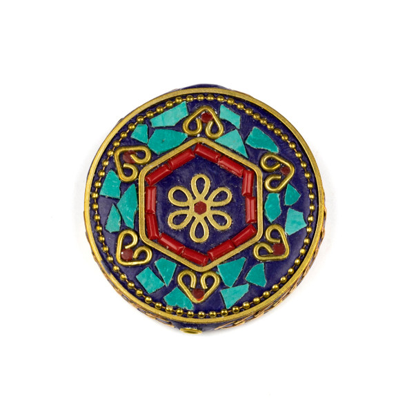 Tibetan Brass 44mm Coin Focal Bead with Hexagon, Flower, Hearts, Turquoise Howlite, and Red Coral Inlay - 1 per bag