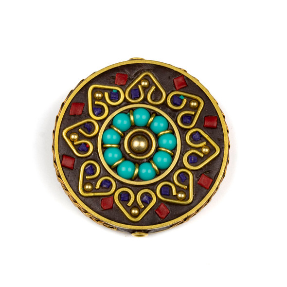 Tibetan Brass 44mm Coin Focal Bead with Turquoise Howlite Rounds in a Circle, Hearts, and Red Coral Inlay - 1 per bag