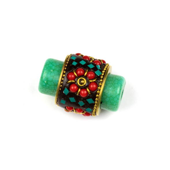 Tibetan Brass 22x33mm Green Tube Focal Bead with Red Coral Medallion and Turquoise Howlite Inlay - 1 per bag